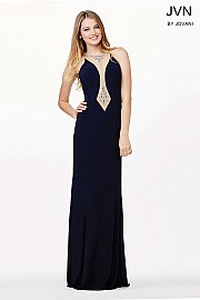 Navy Jeweled Neckline Fitted Dress JVN33846