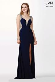 Navy Blue High Slit Jersey Dress JVN33860