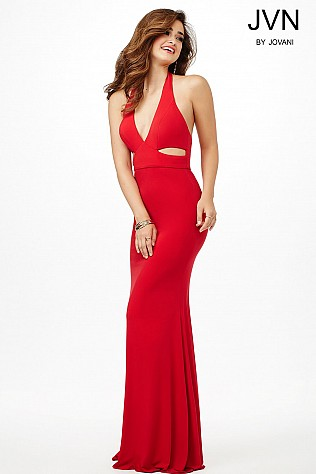 Red V-Neckline Jersey Dress JVN33908