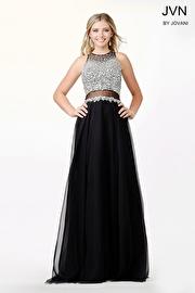 Black Chiffon Embellished Dress JVN34012