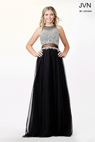 Black Chiffon Embellished Dress JVN34012