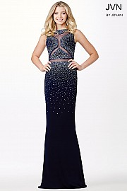 Navy Blue Sleeveless Prom Dress JVN34013