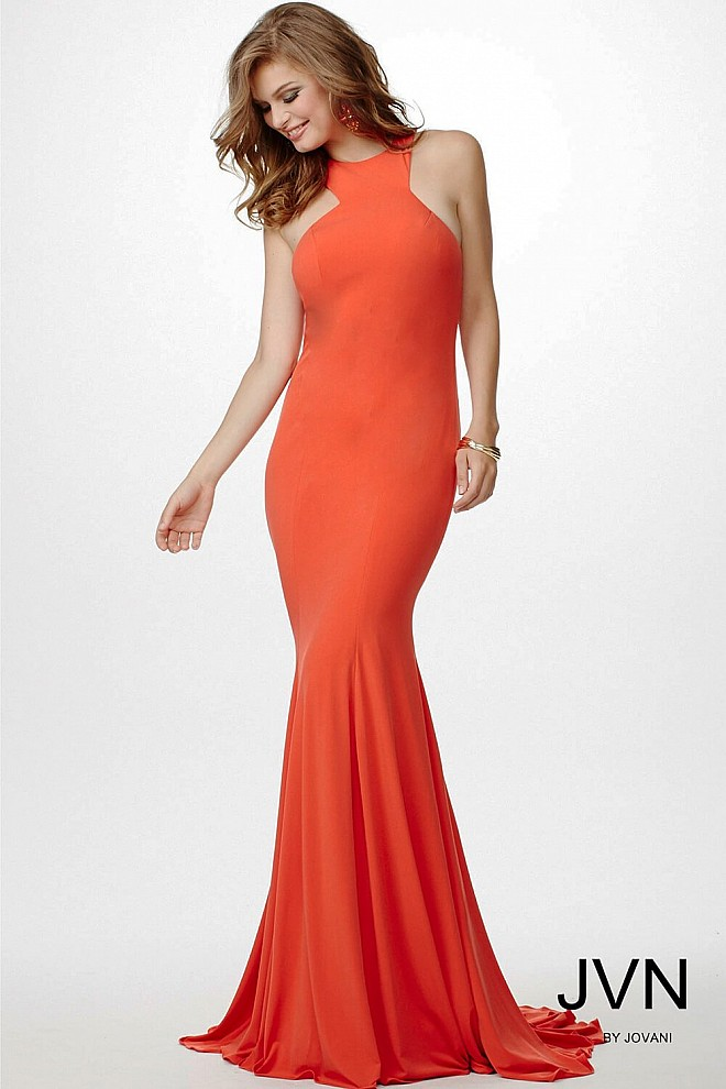 Orange Sleeveless Fitted Dress JVN35096