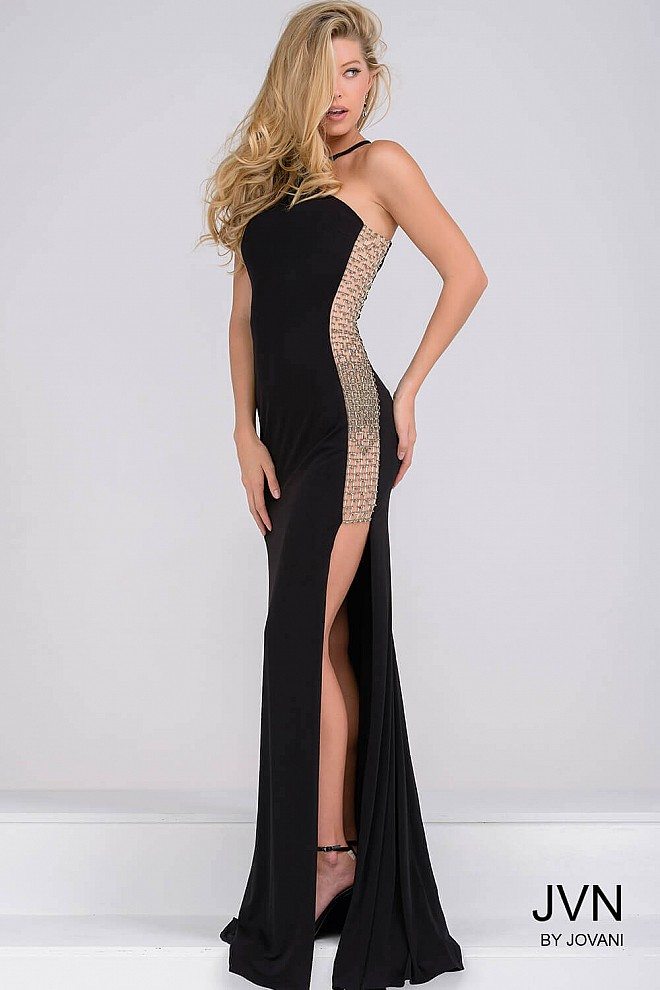 Black Sleeveless Jersey High Slit Prom Dress JVN35181