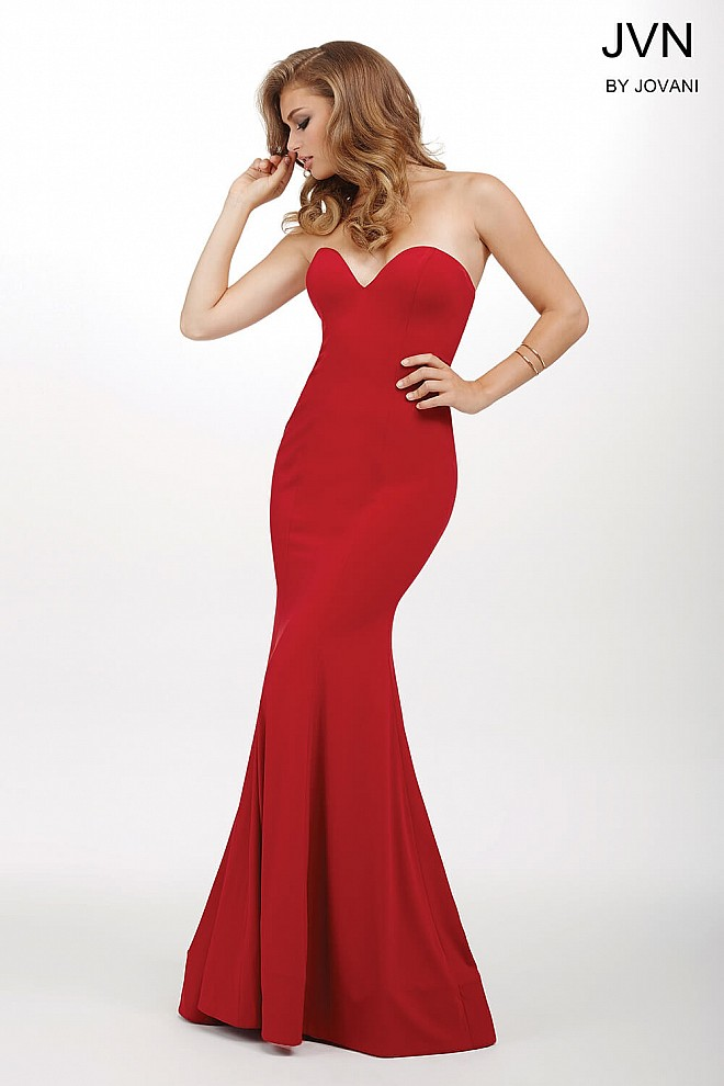 Red Strapless Fitted Dress JVN35192