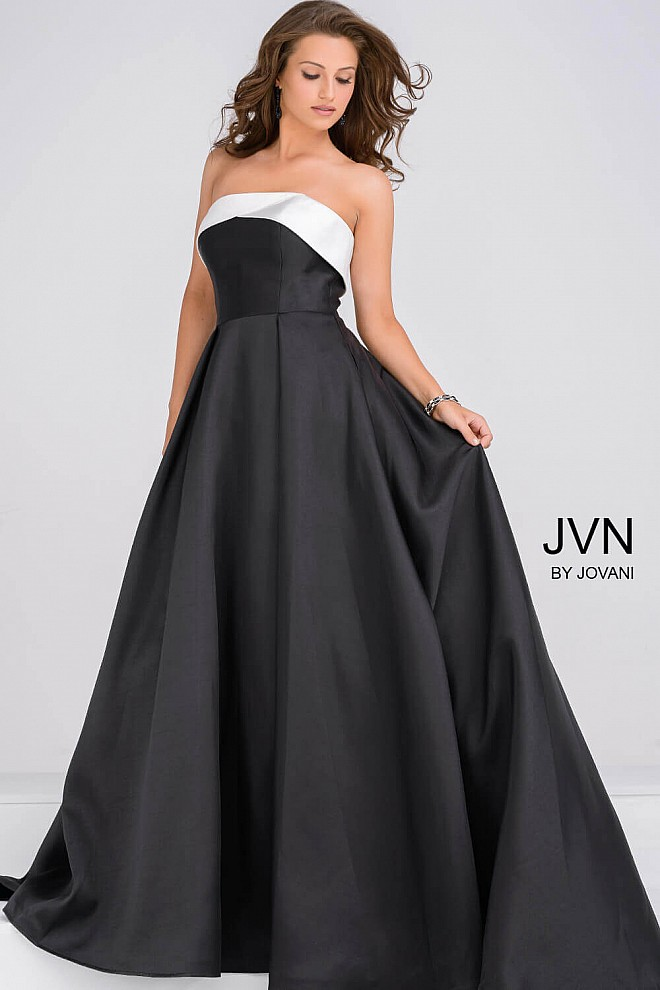 Black and White Simple A line Prom Ballgown JVN35400