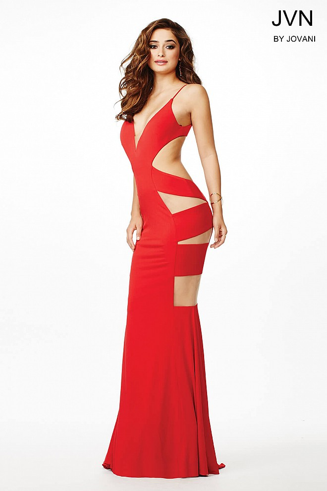 Red Floor Length Open Back Dress JVN36365