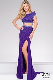 Purple Cap Sleeve Beaded Bodice Prom Dress JVN36743