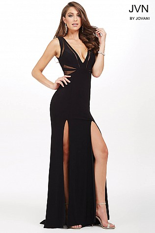 Black Jersey Fitted Prom Dress JVN36760