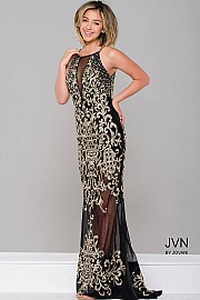 Black/Gold Sheer Illusion Sleeveless Dress JVN36766