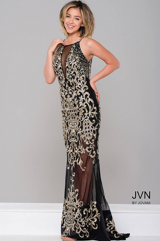 Black/Gold Sheer Illusion Sleeveless Dress JVN36766