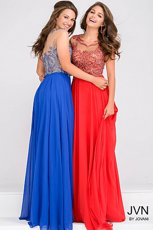 Red Sheer Neckline Beaded Chiffon Prom Dress JVN36770
