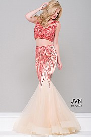 Red and Nude Two Piece Mermaid Dress JVN36772