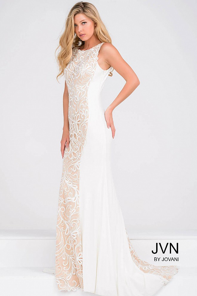Ivory Fitted Jersey Long Dress with Lace Panel JVN36774