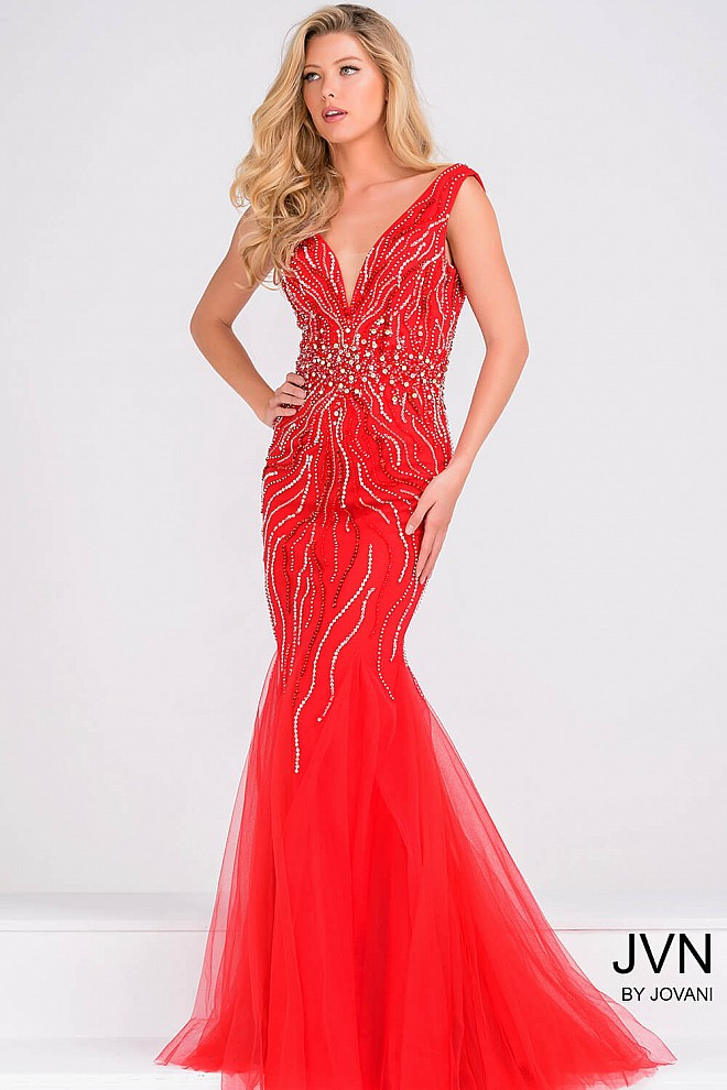 Red V Neckline Embellished Open Back Dress JVN36803