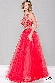 Red Tulle Two-Piece Prom Dress JVN36847