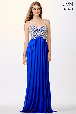 Blue Empire Waist Prom Dress JVN36850