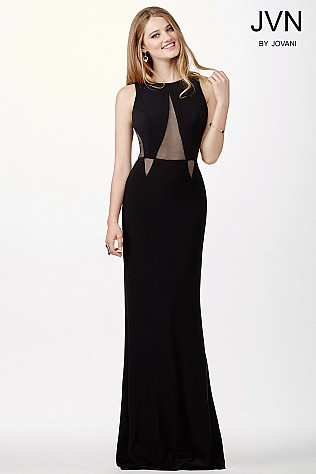 Black Fitted Jersey Dress JVN36880