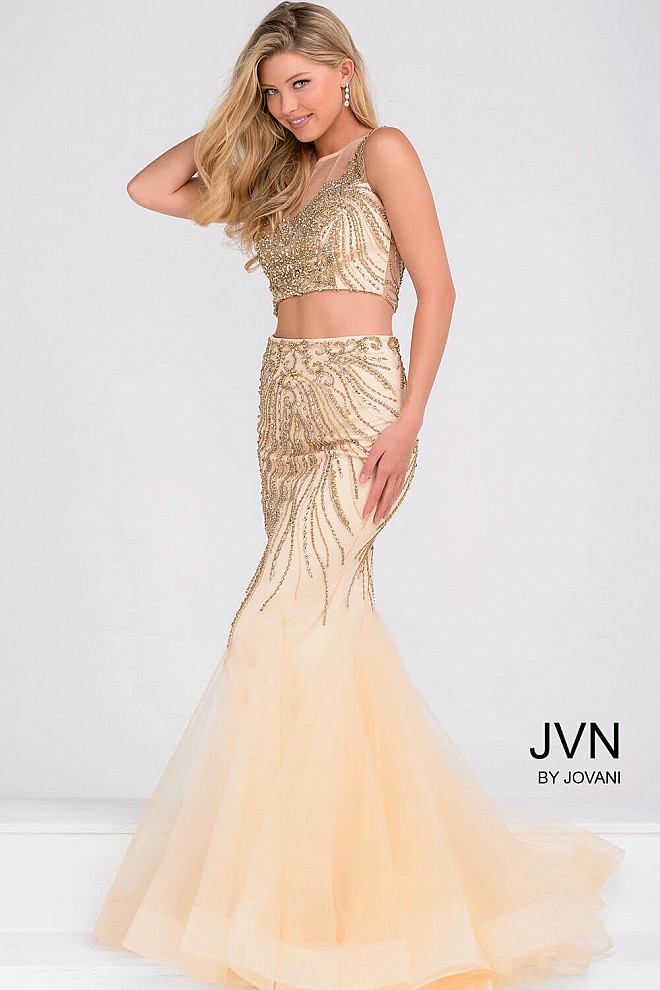 Nude and Gold Two Piece Embellished Mermaid Dress JVN36889