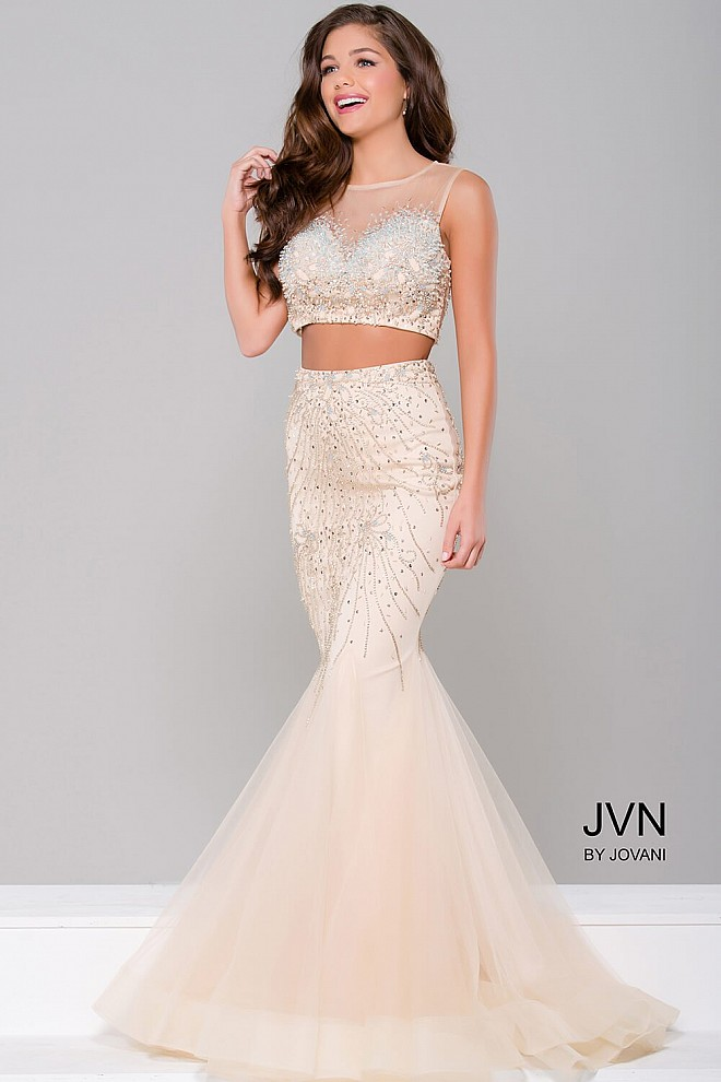 Nude two piece mermaid sheer neckline with crystal embellished bodice.
