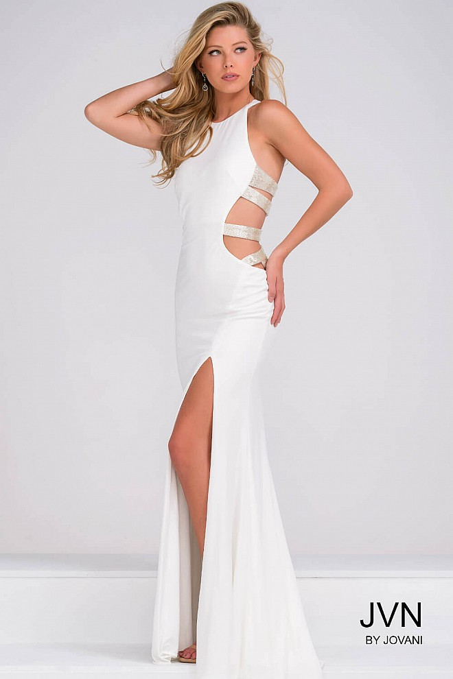 White Fitted Sleeveless High Slit Prom Dress JVN37010