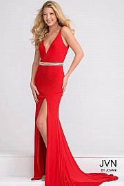 Red V Neck Fitted Jersey Dress with Beaded Waistline JVN37117