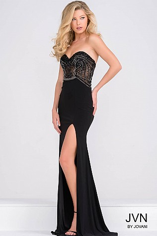 Black Jersey High Slit Sweetheart Neck Prom Dress JVN37225