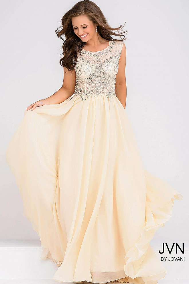 Sheer Neckline Embellished Bodice Chiffon Dress JVN37227