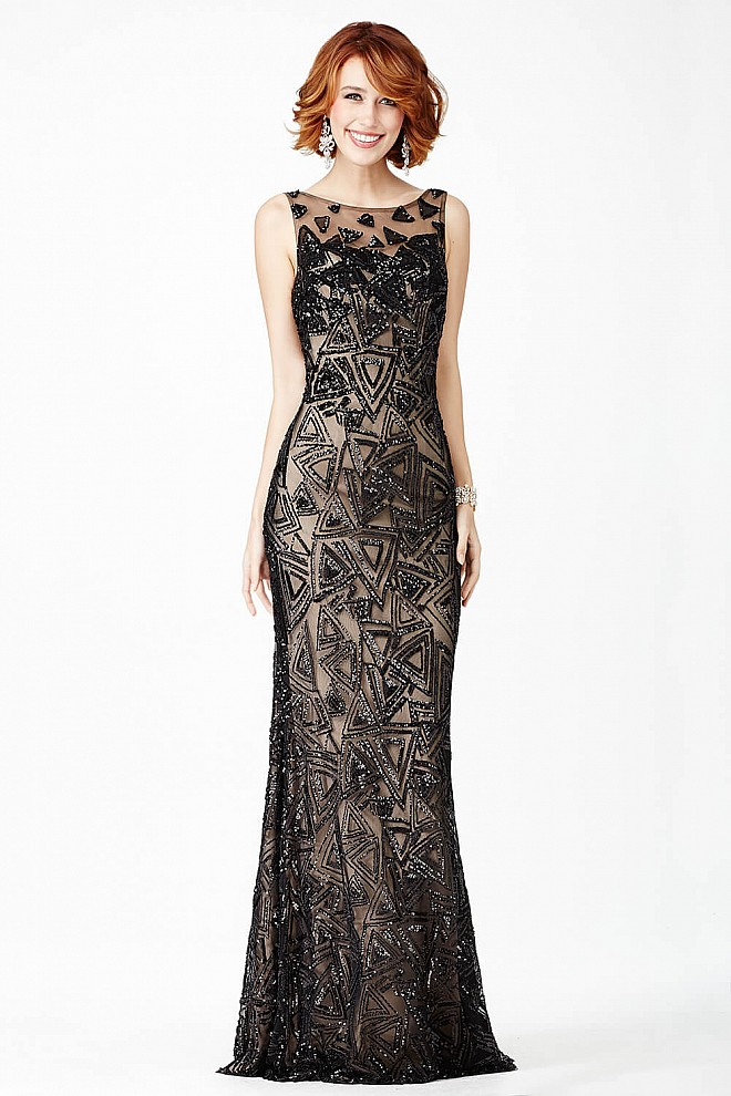 Black Sequin Embellished Prom Dress JVN37558