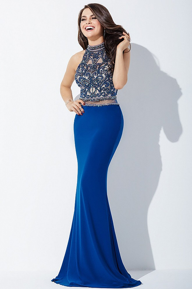 Blue Sleeveless Prom Dress JVN37862
