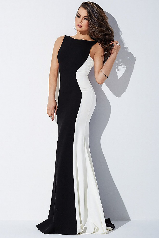 Black and White Fitted Prom Dress JVN39597