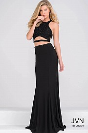 Black Sexy Two piece Fitted Prom Dress JVN40323