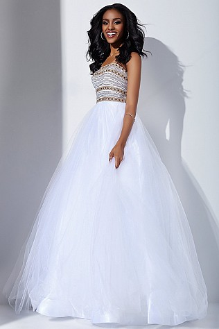 White Embellished Top Ballgown JVN40374