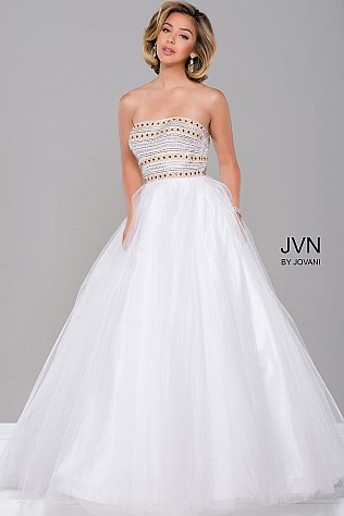 White Strapless Tulle Prom Dress JVN40374