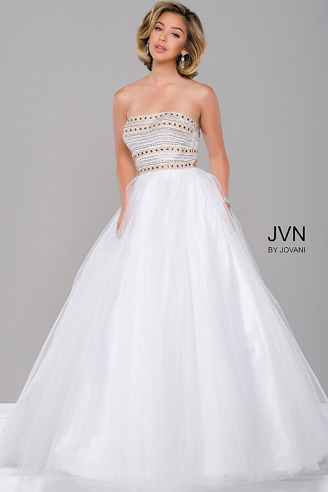 Strapless straight neck line prom ballgown with pleated skirt dress.