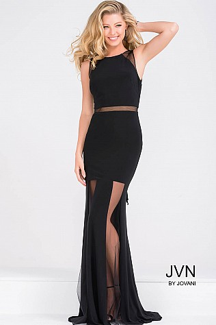Sleeveless Black Fitted Prom Dress JVN40483