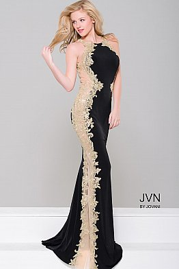 Black Sleeveless Fitted Dress with Nude Panel JVN40890