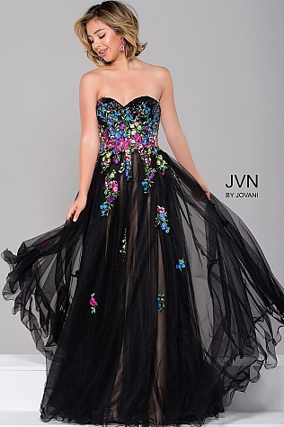 Black Multi Strapless Prom Ball Gown JVN41428