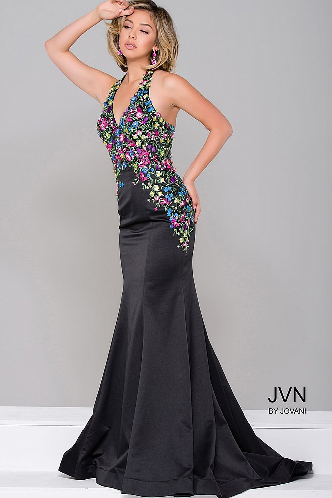 Black Multi Floral Applique Mermaid Dress JVN41429