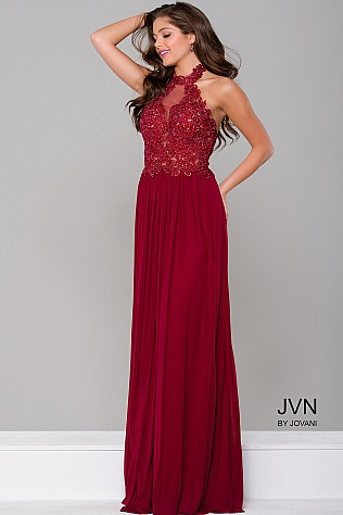 Burgundy Halter Neckline Prom Dress JVN41442