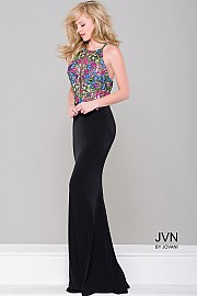 Black Floral Applique Dress JVN41443