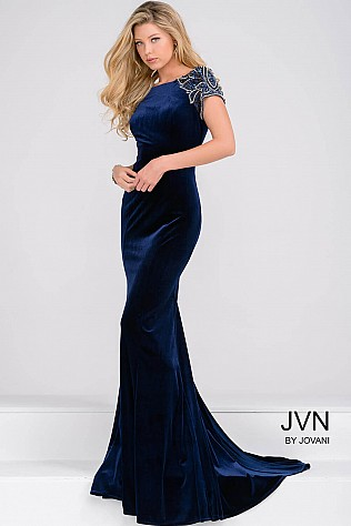 Cap Sleeve Navy Fitted Velvet Dress JVN41449