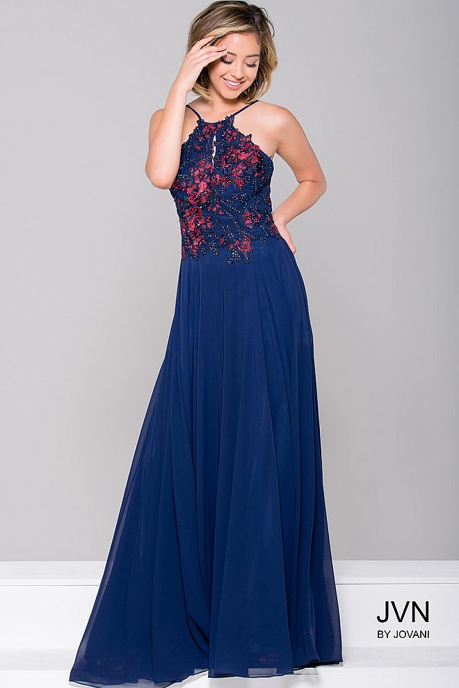 Navy Stretch Mesh Prom Dress JVN41470