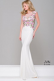 White Floral Sheer Neck Fitted Dress JVN41547