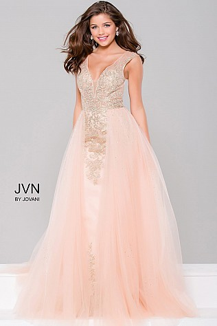 Blush and Nude Embellished Column Prom Dress JVN41677