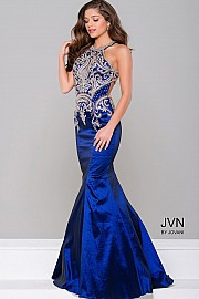 Navy Blue Taffeta Mermaid Bridesmaid Dress JVN41685