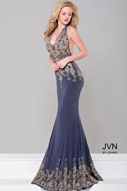 Grey Halter Neck Open Back Jersey Dress JVN41761