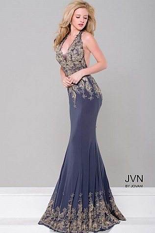 Grey Halter Neck Open Back Jersey Dress JVN41761