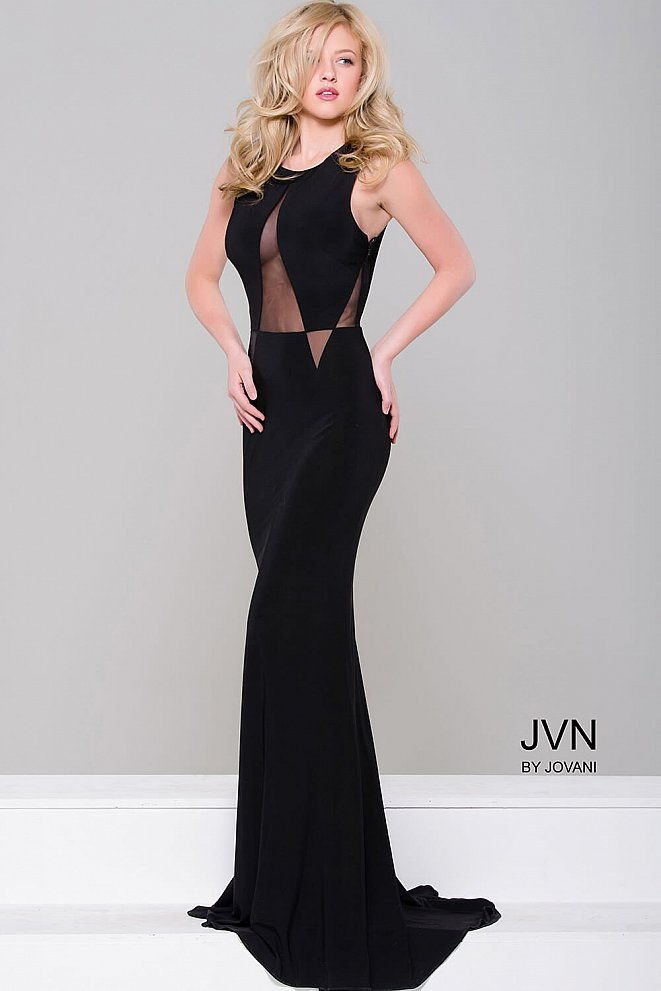 Black Simple Jersey Fitted Dress JVN41863