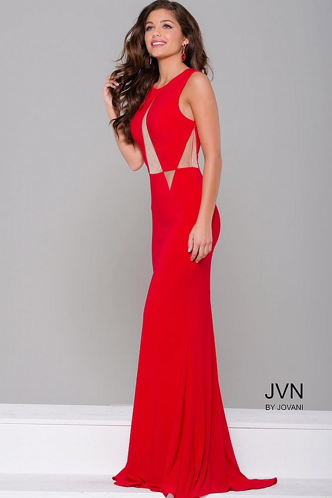 Red Fitted Sleeveless Prom Dress JVN41863